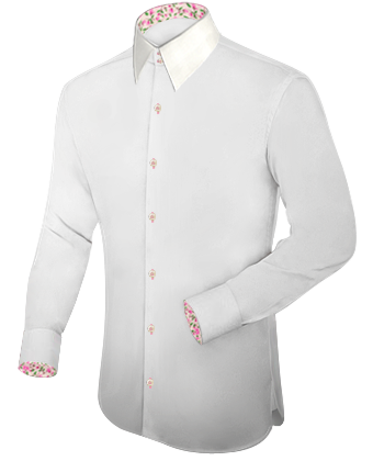 White High Collar Mens One Button Collar Shirts with French Collar 2 Button