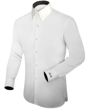 Mens White Linen Shirts For Beach Wedding With French Collar 1 Button