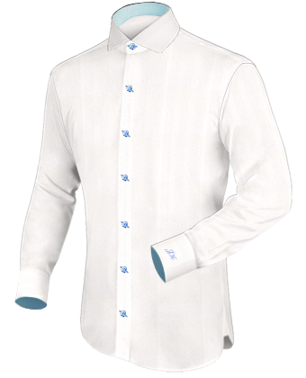 White Wing Collar Wedding Shirts With Italian 1 Button