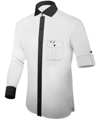 Black Dress Shirt With White Collar And Cuffs