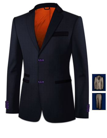 Mens Grey 3 Peice Suit with 2 Buttons, Single Breasted