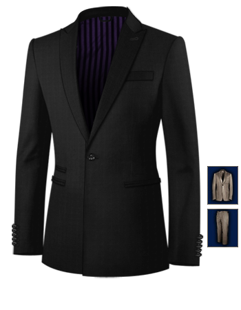 Mens 3 Piece Tailored Suits with 1 Button, Single Breasted